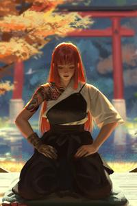 800x1280 Asian Warrior Girl Meditation 4k