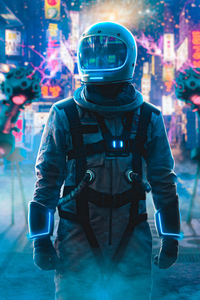 1125x2436 Astronaut Alone In Neon City 4k