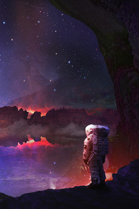 Astronaut Autumn Aurora Artwork