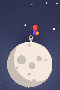 1080x2160 Astronaut Balloon Moon Minimal 4k