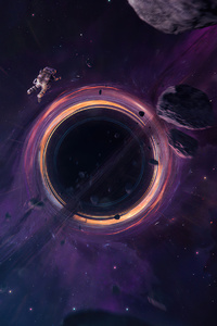 Astronaut Black Hole Galaxy Space 4k