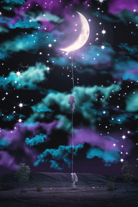 Astronaut Climbing To The Moon