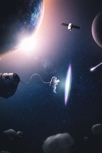 Astronaut Creating Parralel Space 4k