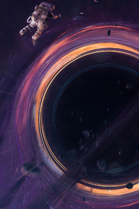 720x1280 Astronaut Entering Black Hole 4k