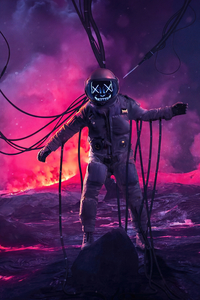 1080x2280 Astronaut Fake Smile In Hell 4k