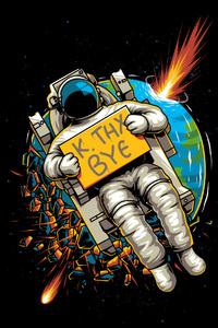 640x1136 Astronaut Okae Bye 4k