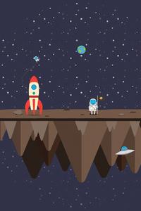 Astronaut Rocket Minimalism 4k