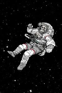 240x400 Astronaut Skull Sky Falling Dark 4k