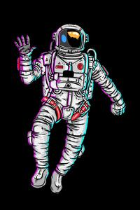 1440x2960 Astronaut Waving Hand Minimal 4k