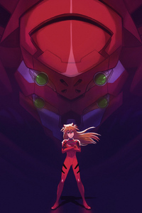 Asuka And Her Unit 02 From Evangelion