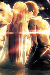 640x960 Asuna Yuuki Kirito Sword Art Online 4k