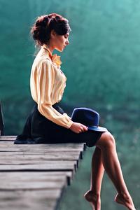 Auburn Hair Girl Outdoor Legs Hanging 4k