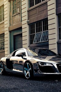 1080x2280 Audi R8 Chrome Wrap