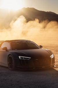 480x800 Audi R8 On The Vegas Dry Lake Bed 4k
