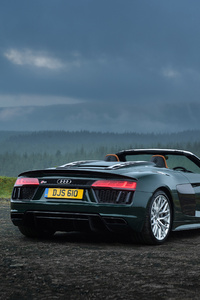 1080x2160 Audi R8 Spyder V10 Plus 4k Rear 2017