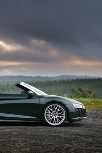 1080x2160 Audi R8 Spyder V10 Plus 4k Side View 2017