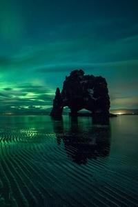 Aurora Borealis Green Reflection