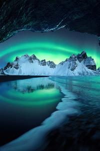 1080x1920 Aurora In Iceland Mountains 5k