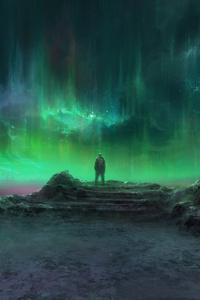 Aurora Man Standing Landscape