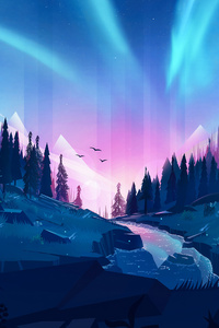 320x480 Auroral Forest 4k Illustration