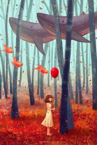 480x800 Autumn Dream Girl 4k