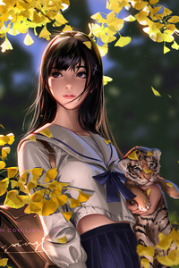 640x1136 Autumn Girl With Cubs