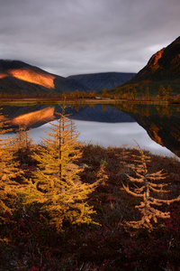 Autumn Lake Reflections Fall Clouds Nature Russia