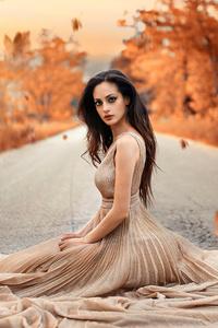 360x640 Autumn Road Girl Sitting Gown Dress