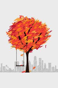 Autumn Tree Minimal Art 4k