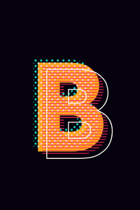 640x1136 B Alphabet Logo 4k