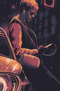 320x480 Baby Driver 4k Art