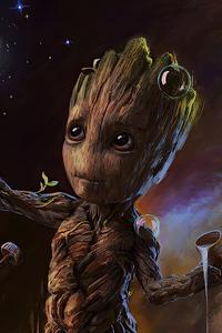1440x2960 Baby Groot 2020 Art