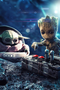 640x960 Baby Groot And Baby Yoda