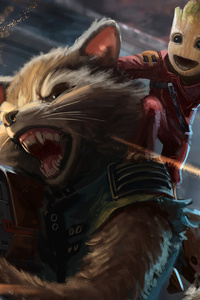 Baby Groot And Rocket Raccoon Artwork
