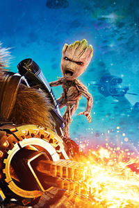 360x640 Baby Groot And Rocket Raccoon Guardians Of The Galaxy Vol 2 4k 8k