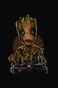 1440x2960 Baby Groot Facet Art