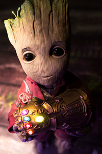 1080x1920 Baby Groot Found The Gauntlet