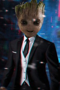 1080x2160 Baby Groot In Suit 4k