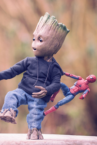 Baby Groot Iron Man And Spiderman