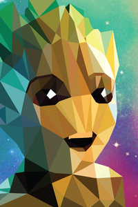 720x1280 Baby Groot Low Poly Portrait