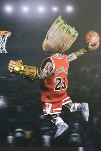 Baby Groot Playing Basketball
