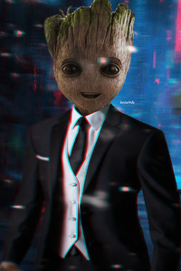 1440x2960 Baby Groot Up For Meeting