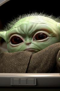 480x854 Baby Yoda 4k Art