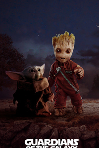 1080x2280 Baby Yoda And Baby Groot