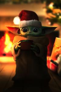 1440x2560 Baby Yoda Christmas
