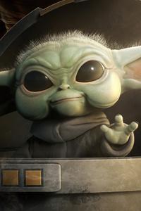 720x1280 Baby Yoda Saying Hi 5k