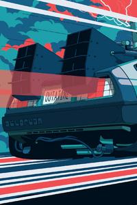 720x1280 Back To The Future Car Illustration 4k