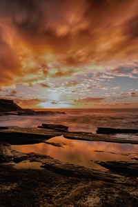 Backlit Dusk Dawn Seashore 5k