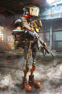 800x1280 Badlands Robot With Gun 4k