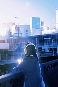 1242x2688 Balcony Traffic Lights Anime Girl Long Hair 5k
